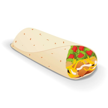 an isolated tasty burrito on a white background