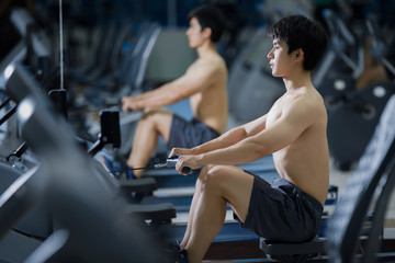 Asian men are working with a stretched