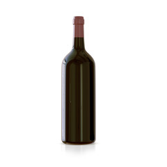 A bottle of wine on a white background