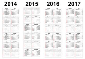 2014, 2015, 2016, 2017 year vector calendars