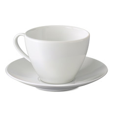 Empty white cup and saucer on white background. Vector illustration