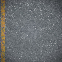 Asphalt Abstract vector road pavement with cracked yellow markin