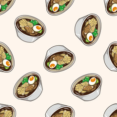 Japanese food , cartoon seamless pattern background