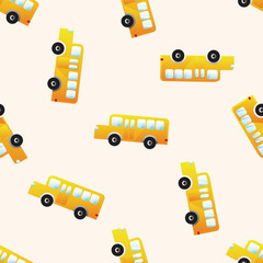 school bus , cartoon seamless pattern background