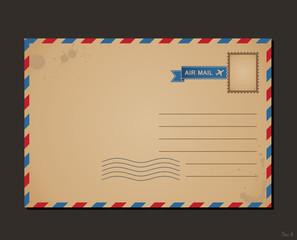 Vintage postcard and postage stamps. Design envelope letters