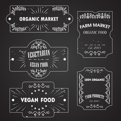 Vector logo and banners templates for vegetarian, began food, farm market banners. Labels on blackboard. Grunge texture