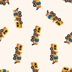 Cement mixer trucks , cartoon seamless pattern background