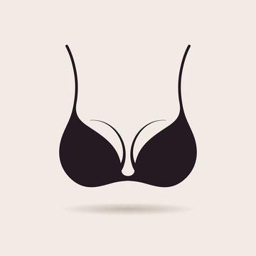 Bra icon logo. Vector illustration. Vintage label design