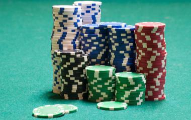 Poker Chips On Green Felt