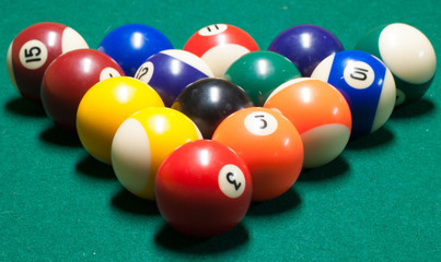 Racked Billiards Balls
