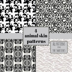 4 animal skin patterns set