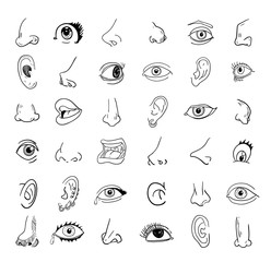 eye nose ear and mouth collection in different expressions. vector icon illustration.