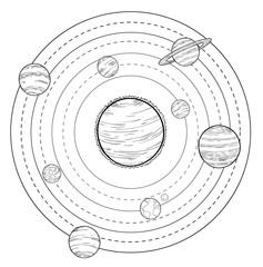 doodle Solar System, vector illustrations.