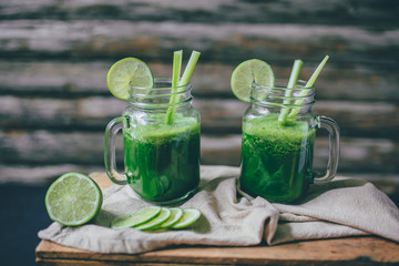 green smoothie with lime and celery