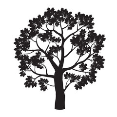 Black Maple Tree. Vector Illustration.