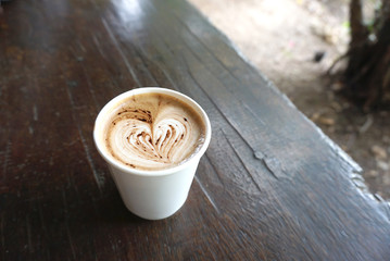 Heart shape on the mocha coffee