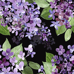 Spring blooming lilac branch seamless pattern