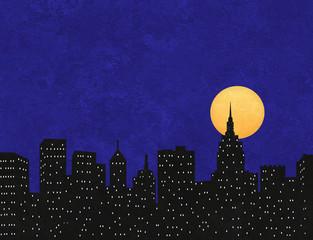City Skyline Silhouette Under a Full Moon