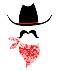 Cowboy With Mustache and Bandana