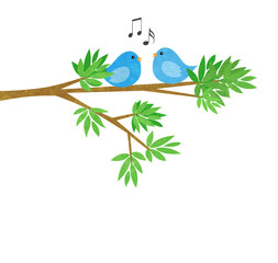 Two Little Birds on a Tree Branch