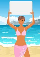 girl in bikini with banner on the beach
