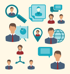 Flat icons of business people showing presentation online meetin