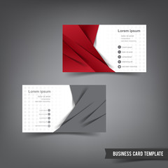 Business Card template set 027 red and grey layer overlab elemen