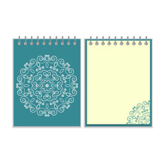 Blue cover notebook with round floral pattern