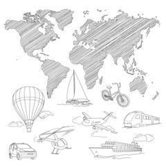 Travel Transport and world map line sketch vector