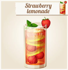 Strawberry lemonade. Detailed Vector Icon