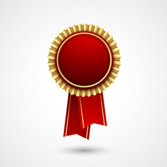 Red Color vector award  badge and ribbon. Premium quality.