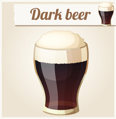 Glass of dark beer. Detailed Vector Icon
