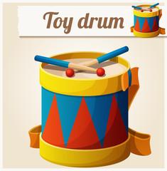 Vintage toy drum. Cartoon vector illustration. Series of