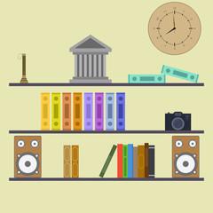 Conceptual flat design workspace interior, book shelf.  Vector o