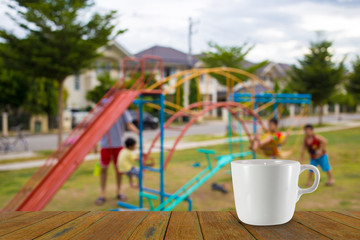 Defocused and blur image of children's playground at public park