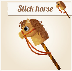 Stick horse toy. Cartoon vector illustration. Series of children