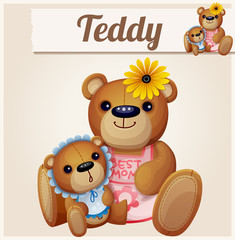 Teddy bears mom and baby. Cartoon vector illustration. Series of