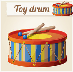 Vintage toy drum 2. Cartoon vector illustration. Series of