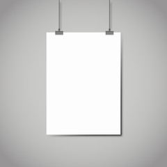Blank white page hanging against grey background vector template
