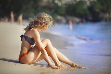 girl on the beach australia blonde tan
