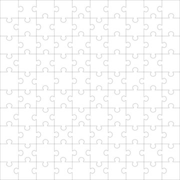 Set of 100 puzzle pieces, vector illustration