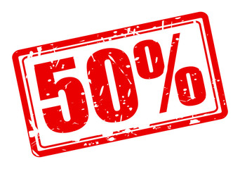 50 percent red stamp text