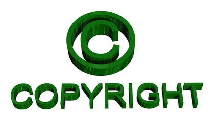 Copyright sign and lettering isolated on white background