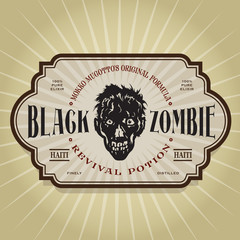Black Zombie Potion Voodoo Label