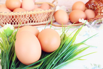 Eggs in the basket on wallpaper background
