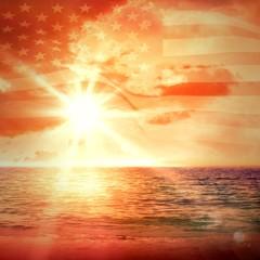 Foto auf Leinwand See sonnenuntergang Digitally generated united states national flag