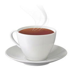 Cup of hot tea with steam and saucer on white background. Vector
