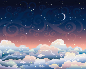 Night sky with clouds and moon.