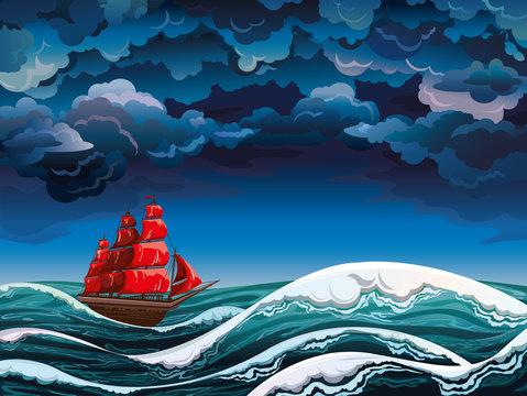 Sailboat and shtorm.