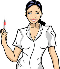 Nurse/A smiling nurse with a injection. Simple cartoon illustration.